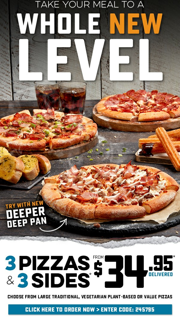3 Large Traditional, Vegetarian Plant-Based or Value Pizzas + 3 Selected Sides from $34.95* Delivered. Enter code: 245795. Valid until: 16/02/20.