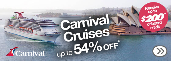 Carnival cruise sale, save up to 54% off and $200* onboard credits at Webjet.com.au