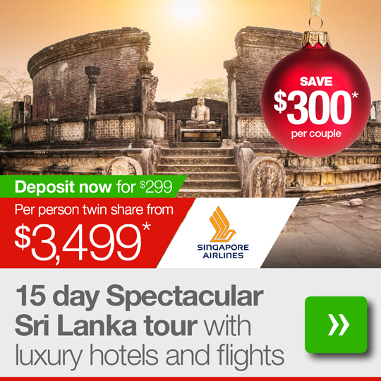 15 day Spectacular Sri Lanka tour with luxury hotels, 5-star beach break and flights