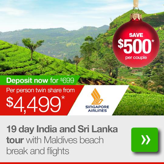 19 day India and Sri Lanka tour with Maldives beach break and flights